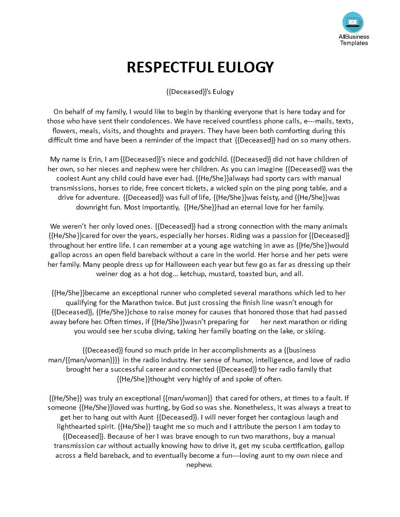 Kostenloses Respectful Eulogy