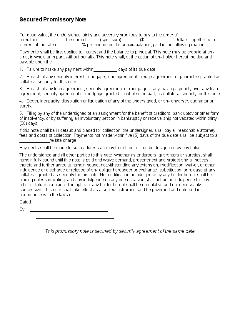 secured promissory note template