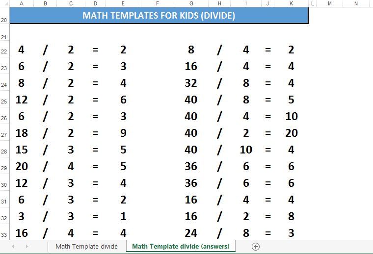free math for kids template dividing templates at