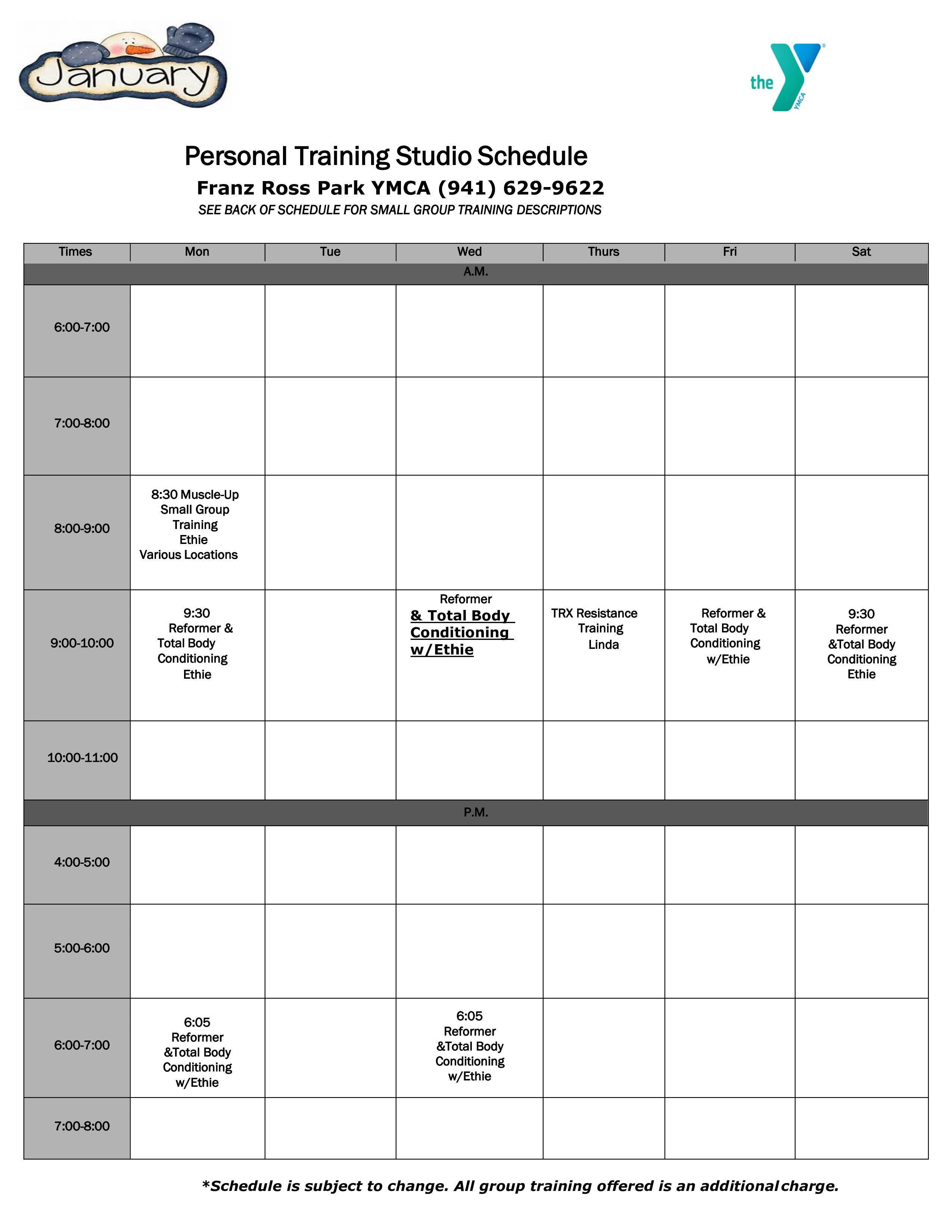 free personal training studio schedule templates at