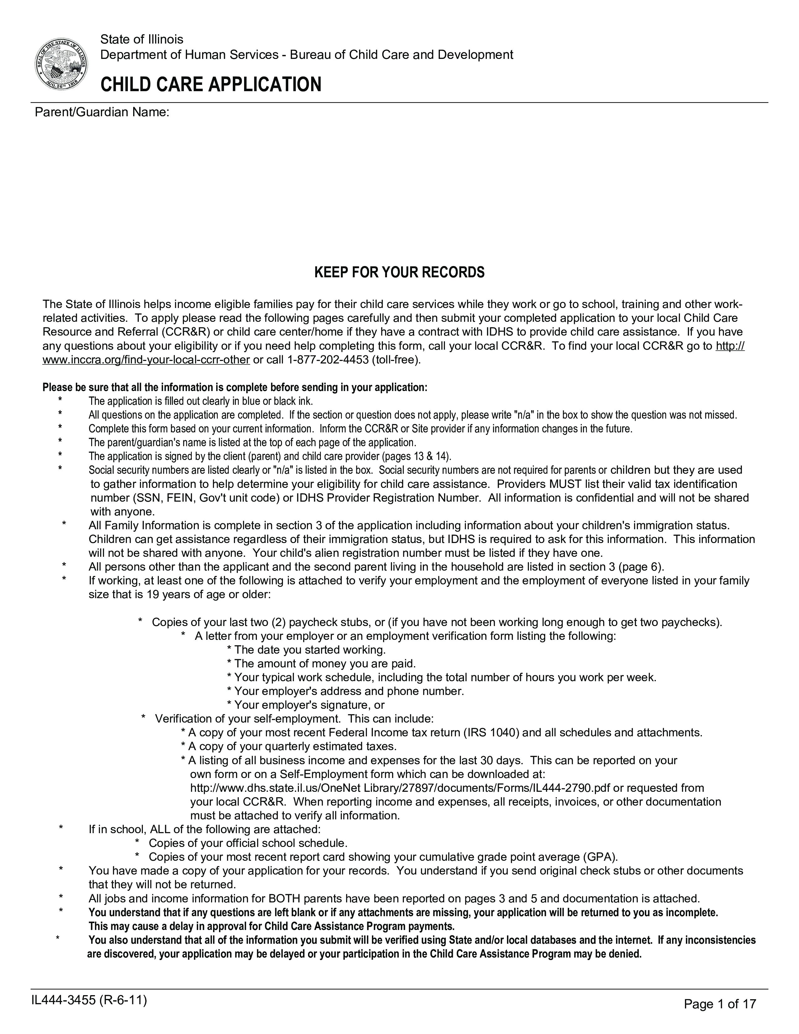Free Child Care Professional Job Application | Templates at ...