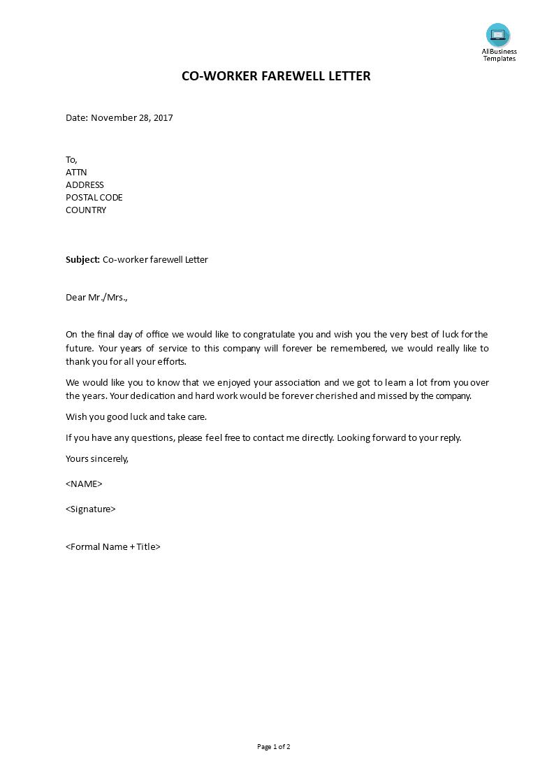 Thank You And Goodbye Letter Gallery Letter Format Examples