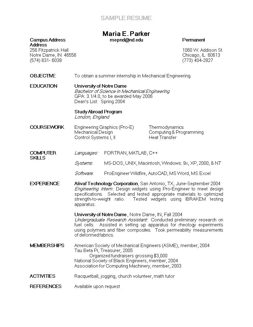 Engineering Internship Resume Sample Main Image