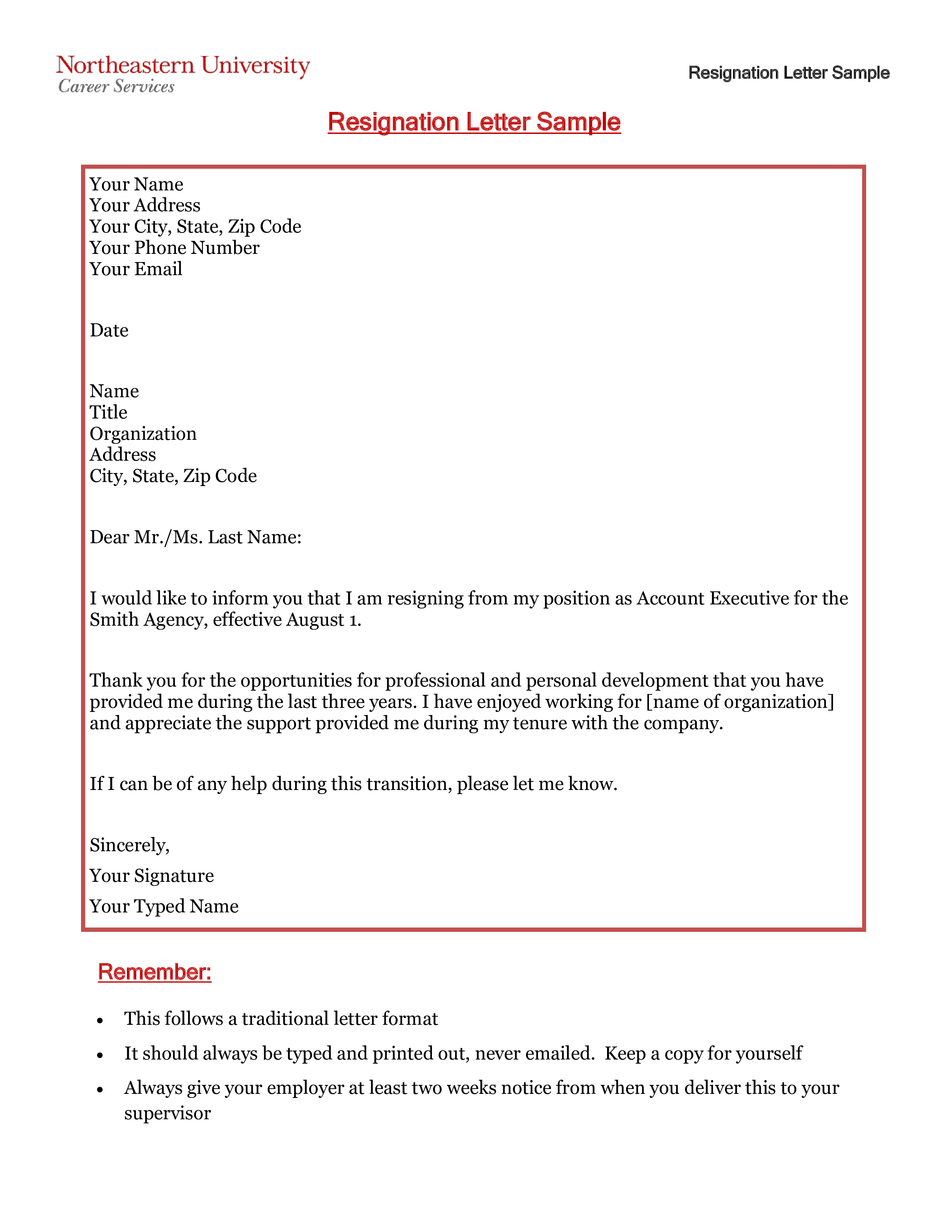Free Professional Business Resignation Letter | Templates at ...
