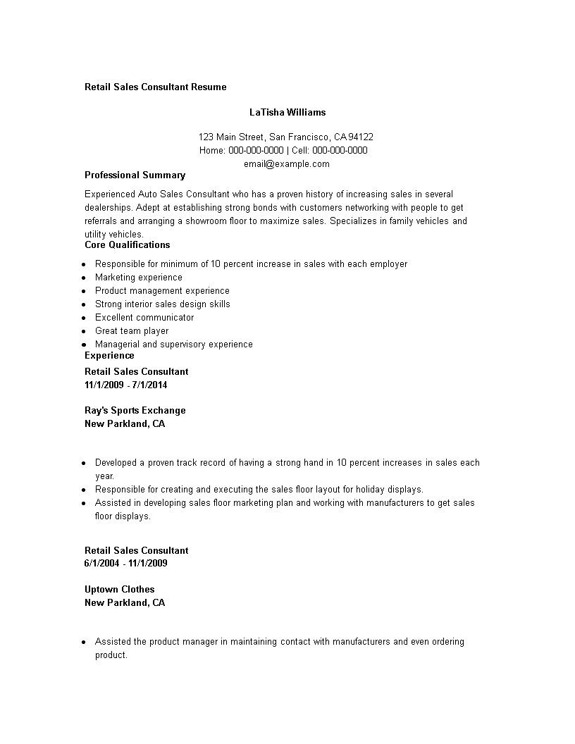 Free Retail Sales Consultant Resume | Templates at ...