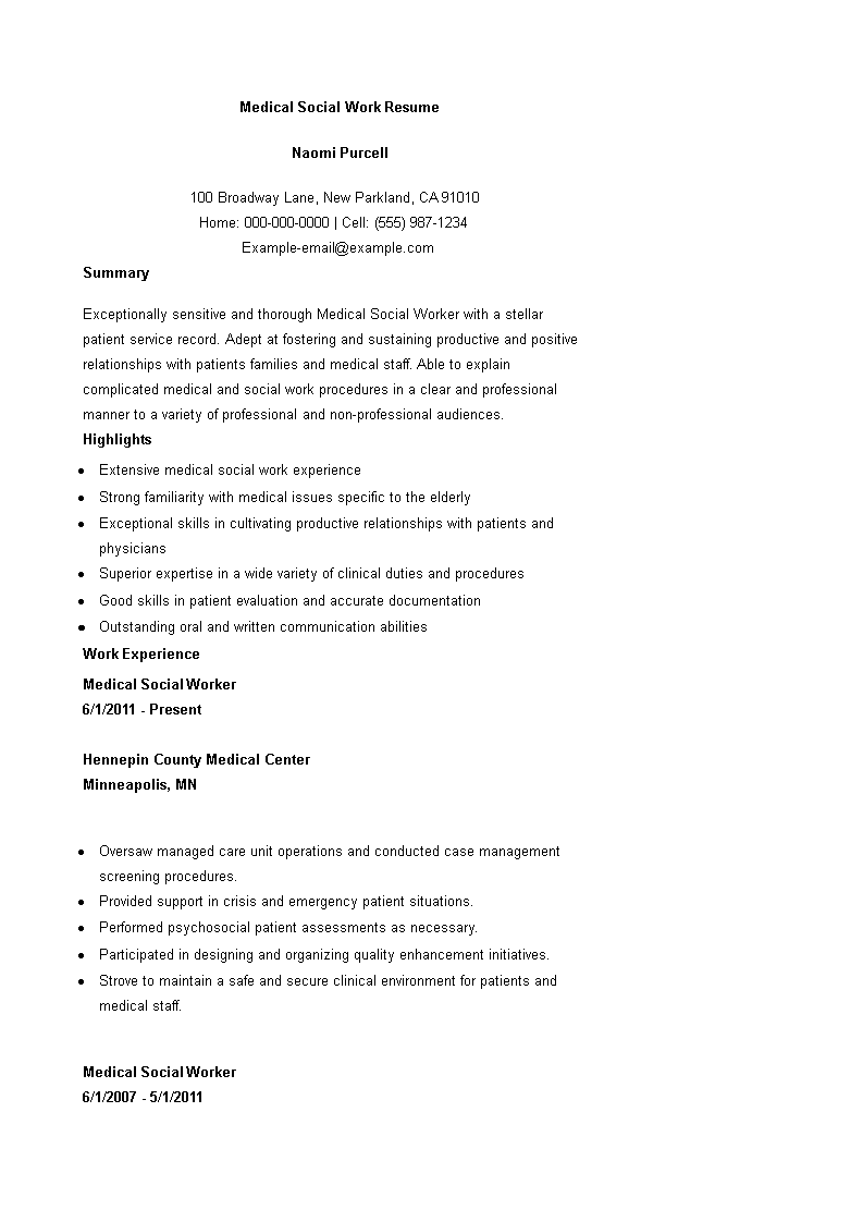 medical social work resume example