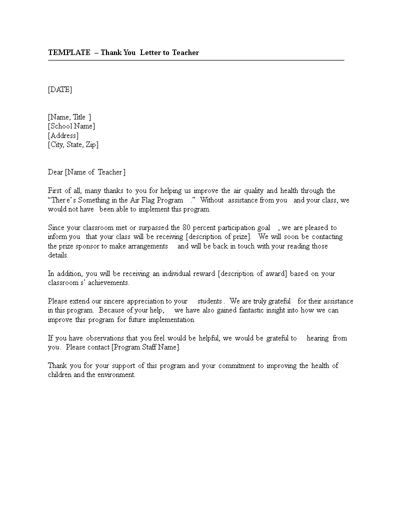 Free Thank You Letter From Student To Teacher template | Templates ...