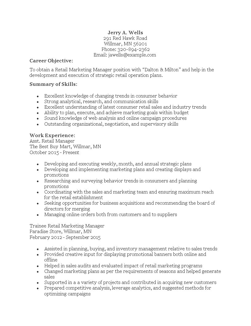 resume Retail Marketing Manager Resume free retail marketing manager resume templates at main image