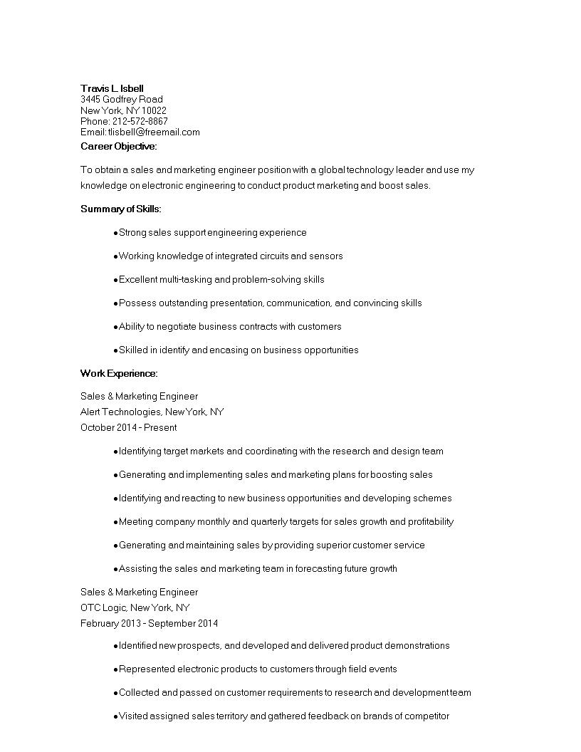 free sales marketing engineer cv templates at