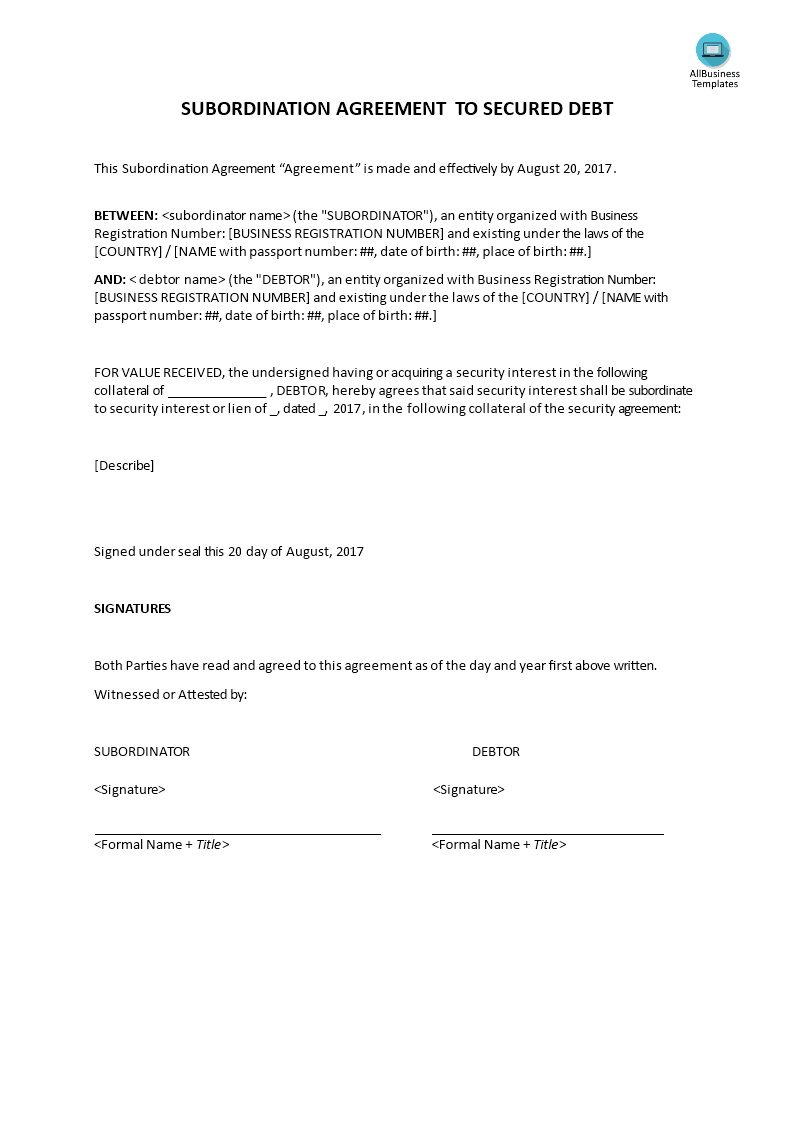 Subordination Agreement Main Image