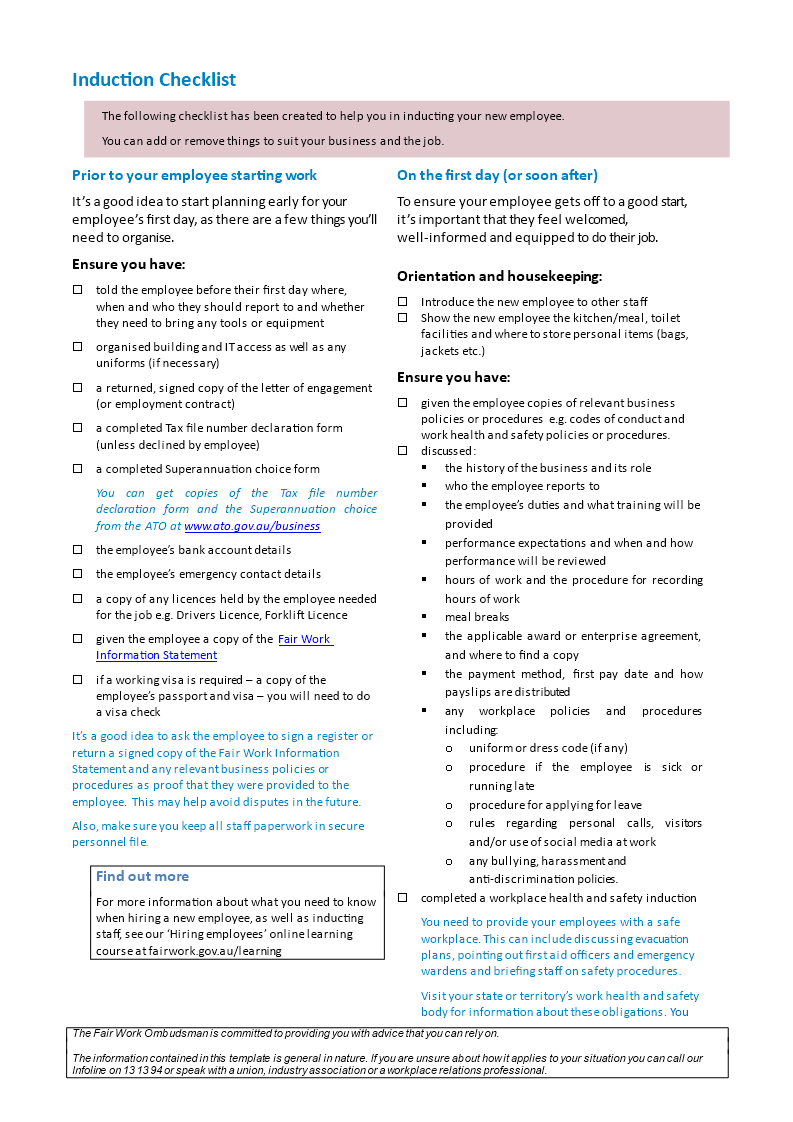 New Employee Introduction Checklist