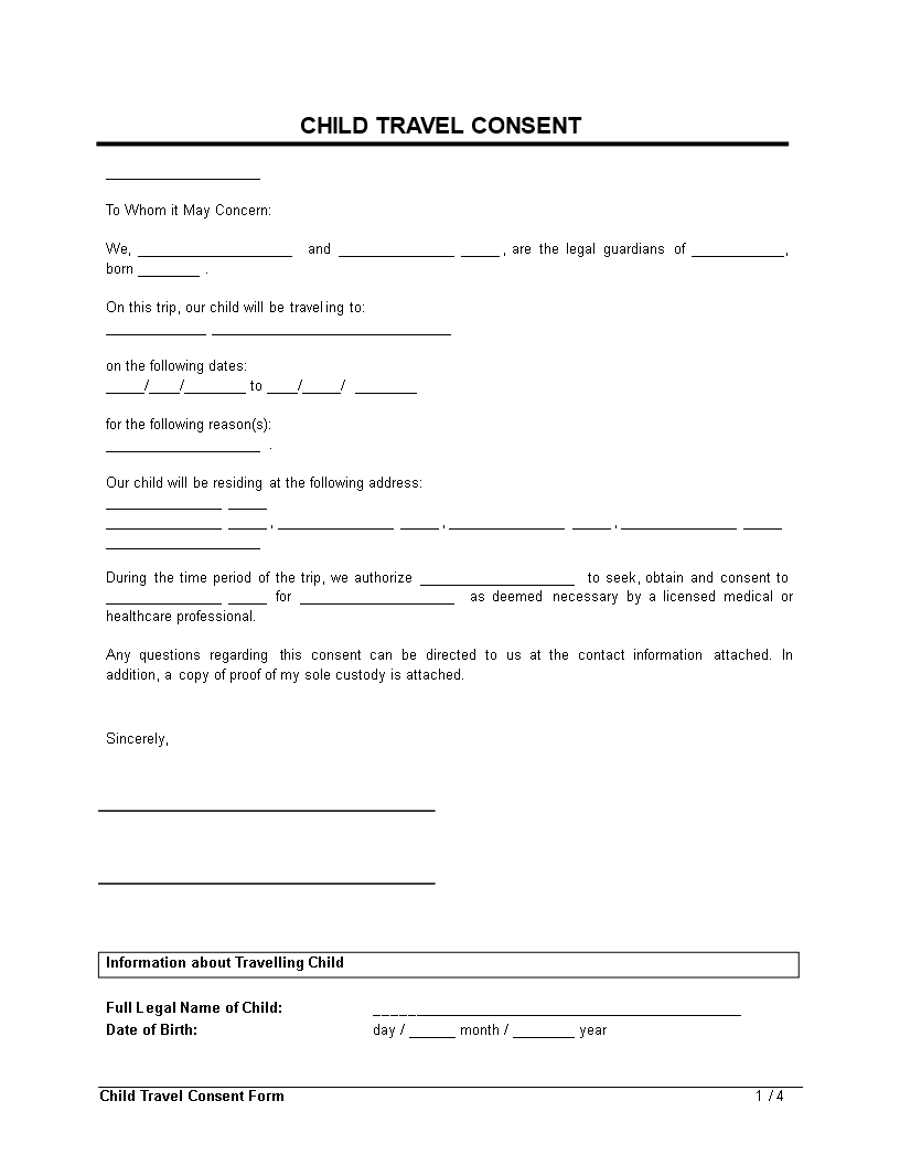Free child travel consent form clean templates at for Free child travel consent form template