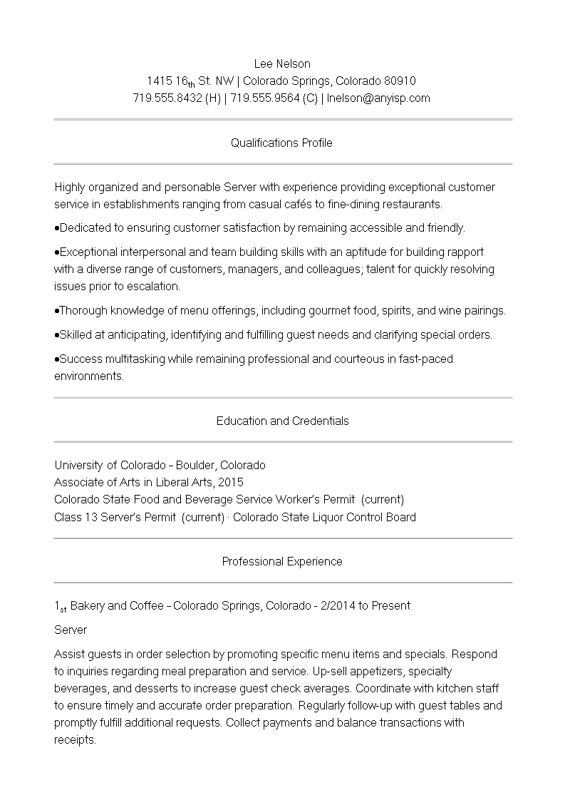 free cafe server resume templates at