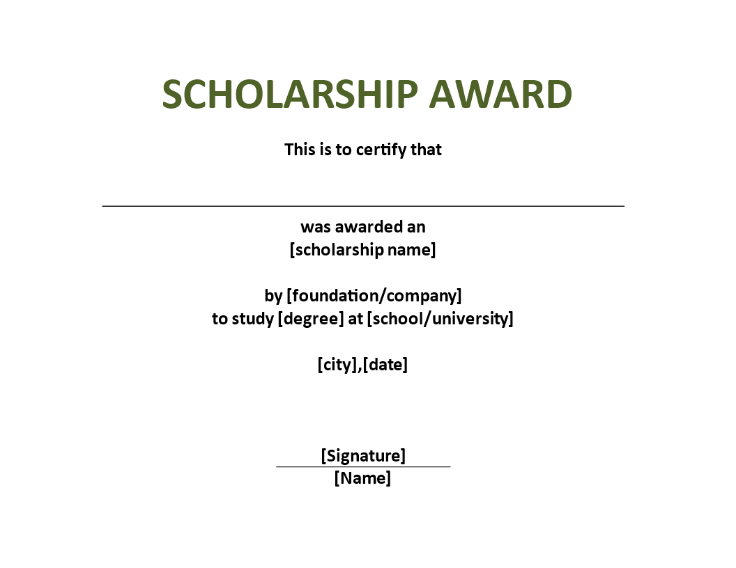 Free Scholarship Award Certificate Template Templates At