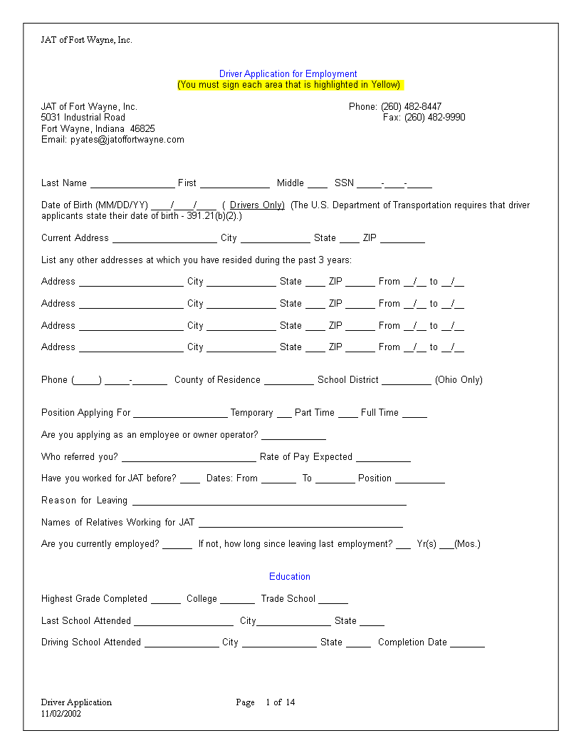 free truck driver employment application word templates at