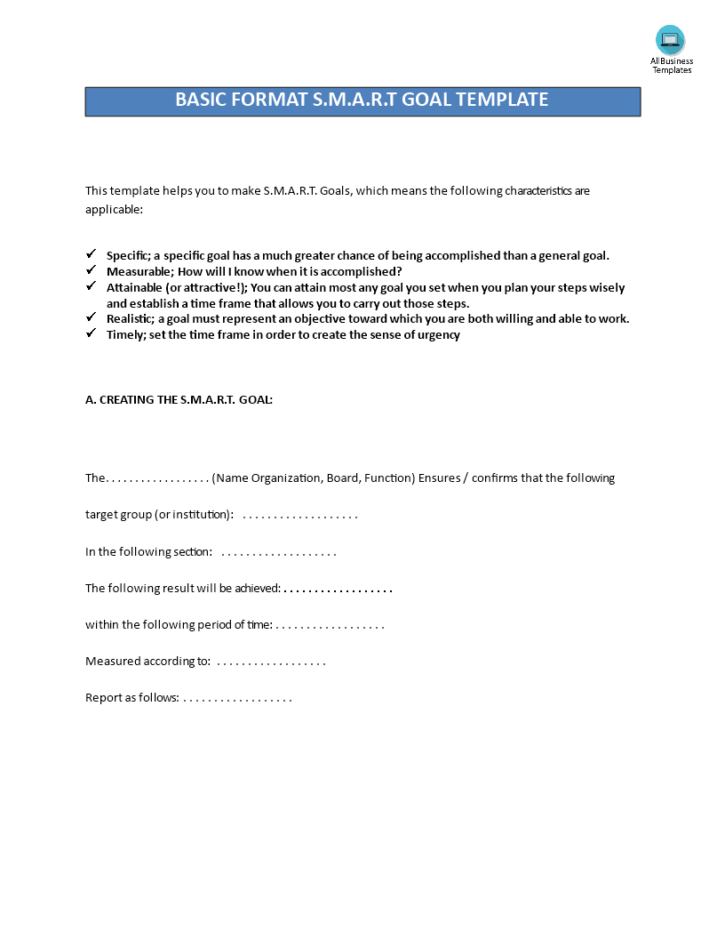 Create Smart Goals Worksheet Templates At