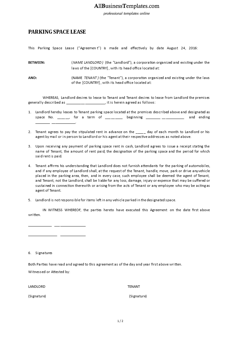 Parking Space Lease Agreement Free Sample Template Free Rental Lease  Agreement Forms Pdf Template Form Download Sample Parking Lease Agreement  Best Resumes ...