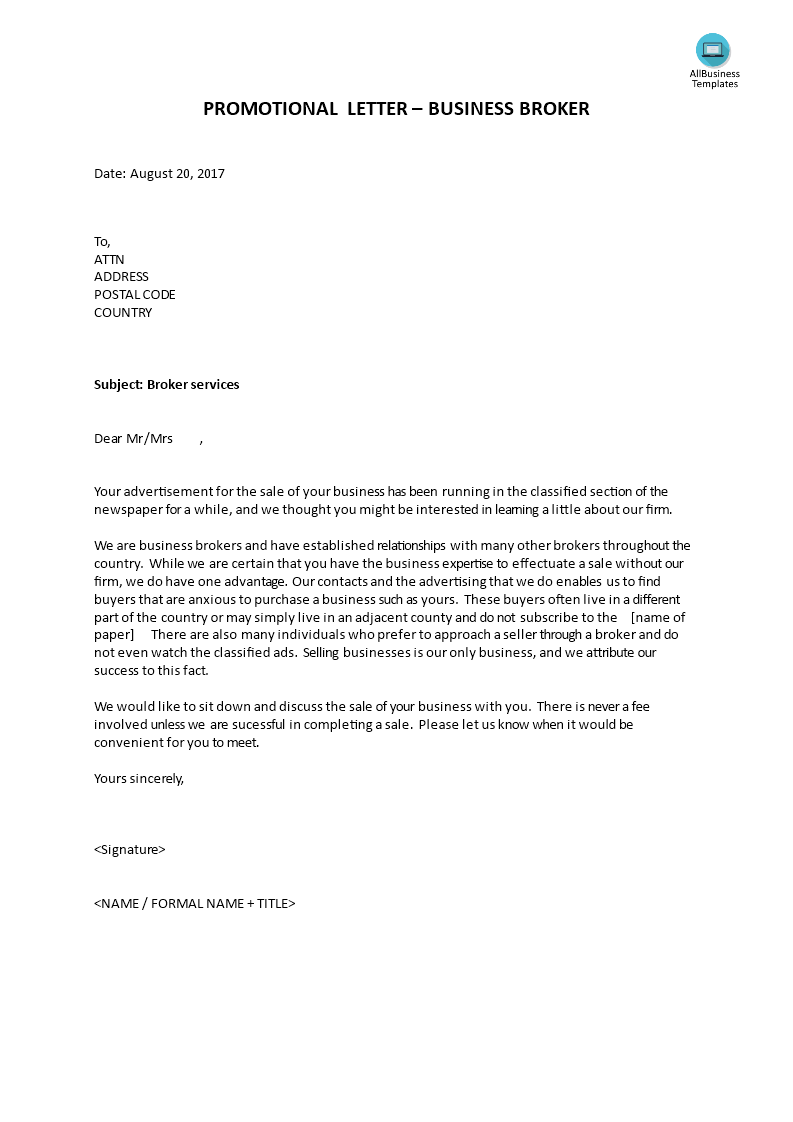 Sales Letter Business Broker Templates At Allbusinesstemplates Com