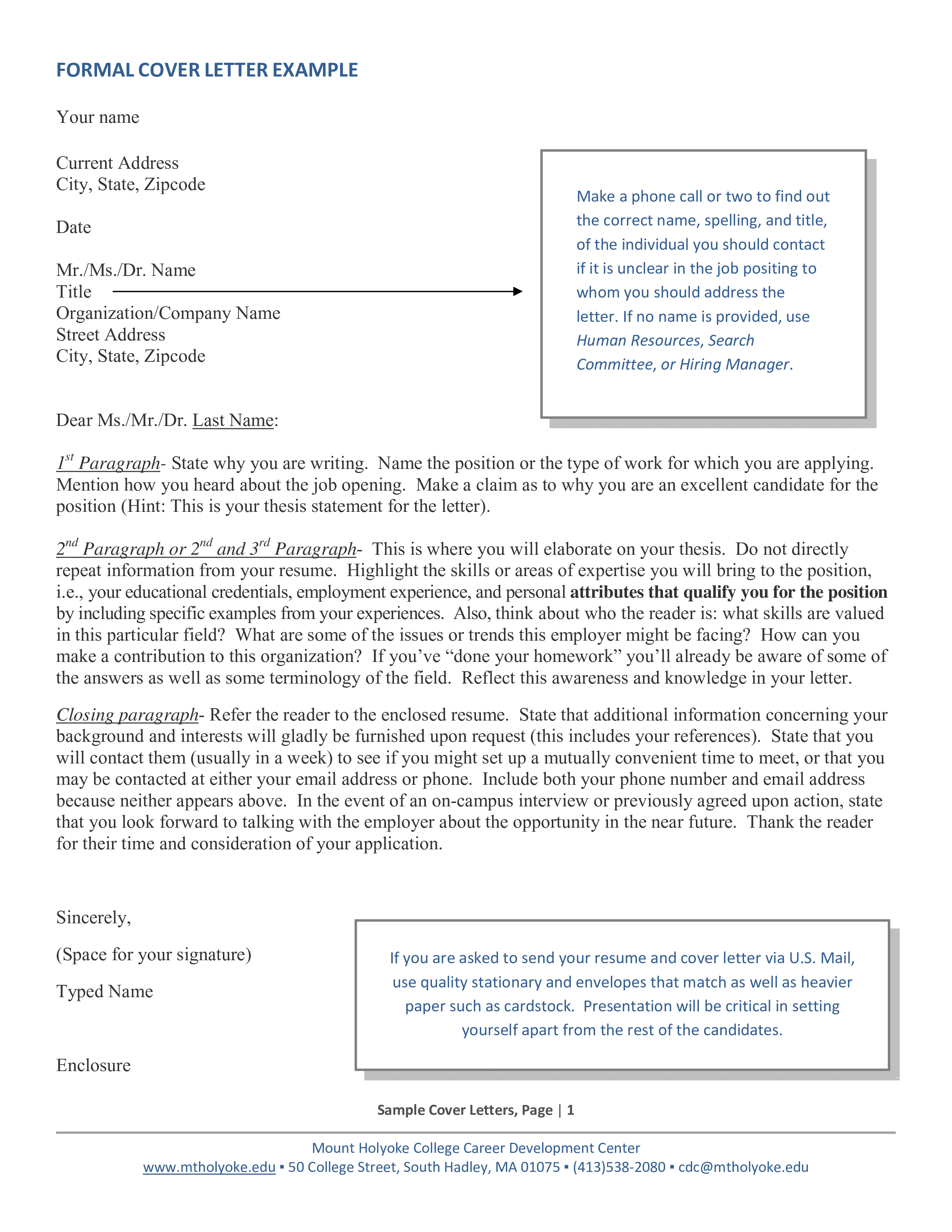 Formal Resume Application Cover Letter | Templates at ...
