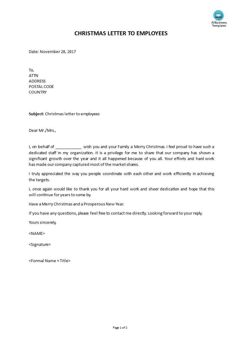 Free christmas letter to employees templates at christmas letter to employees main image download template accmission Choice Image