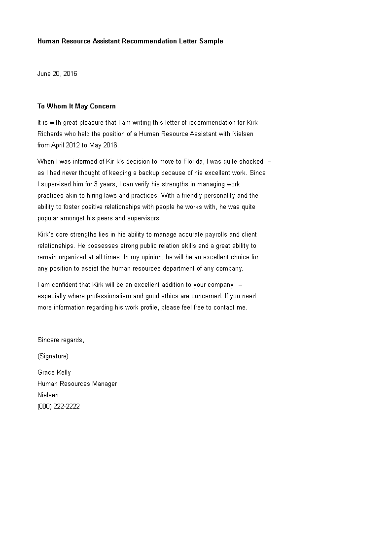 Human Resource Assistant Recommendation Letter Templates