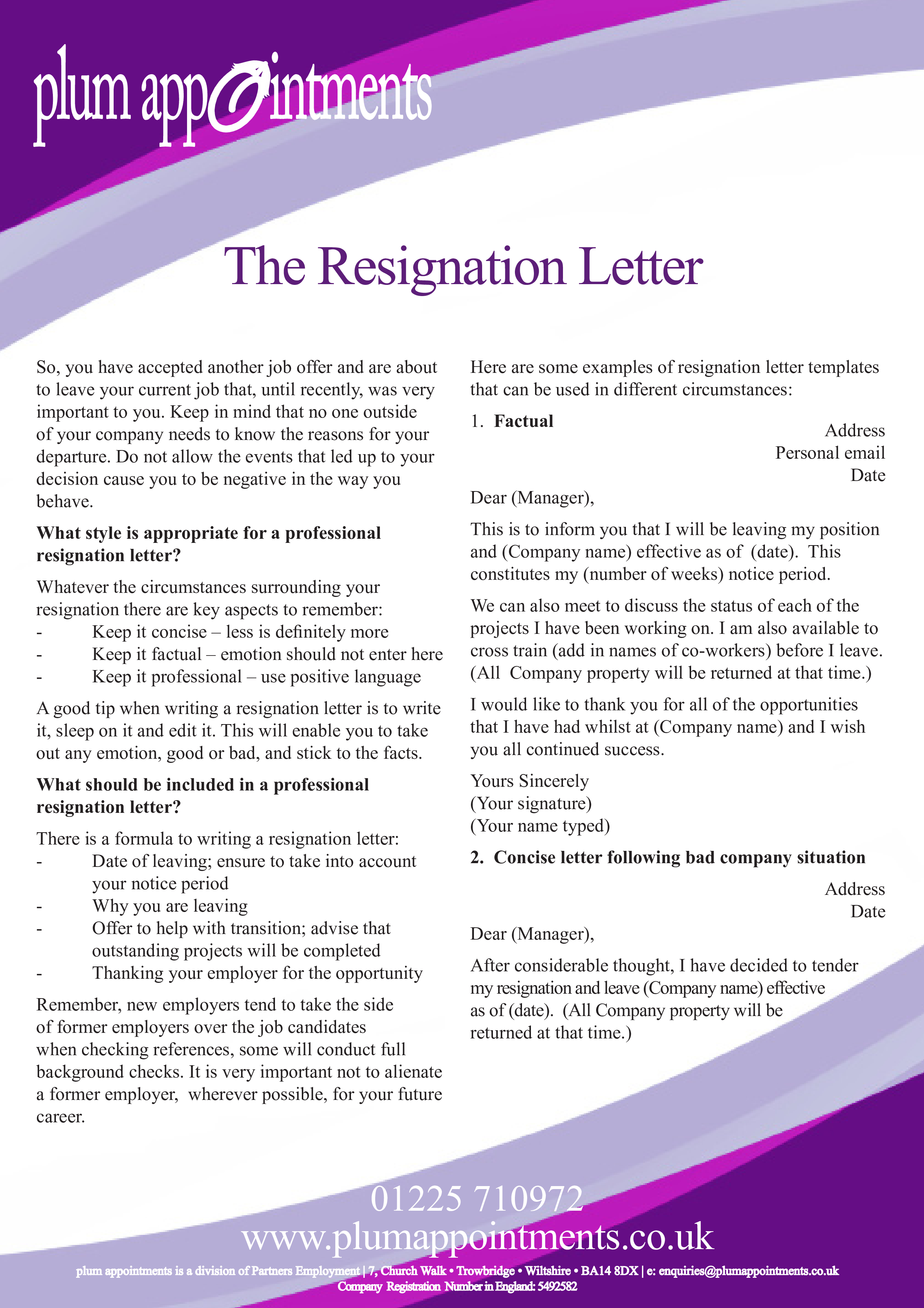 Free Formal Resignation Letter Due To Relocation Templates At