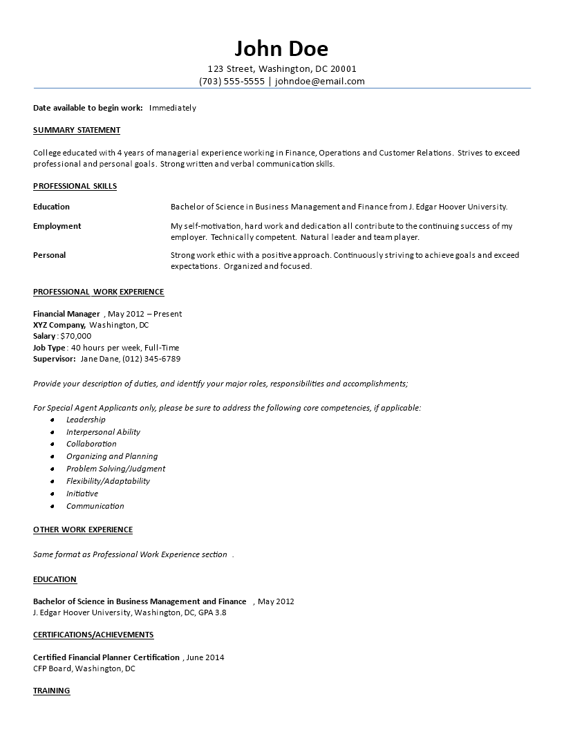Free Business Management Resume | Templates at allbusinesstemplates.com