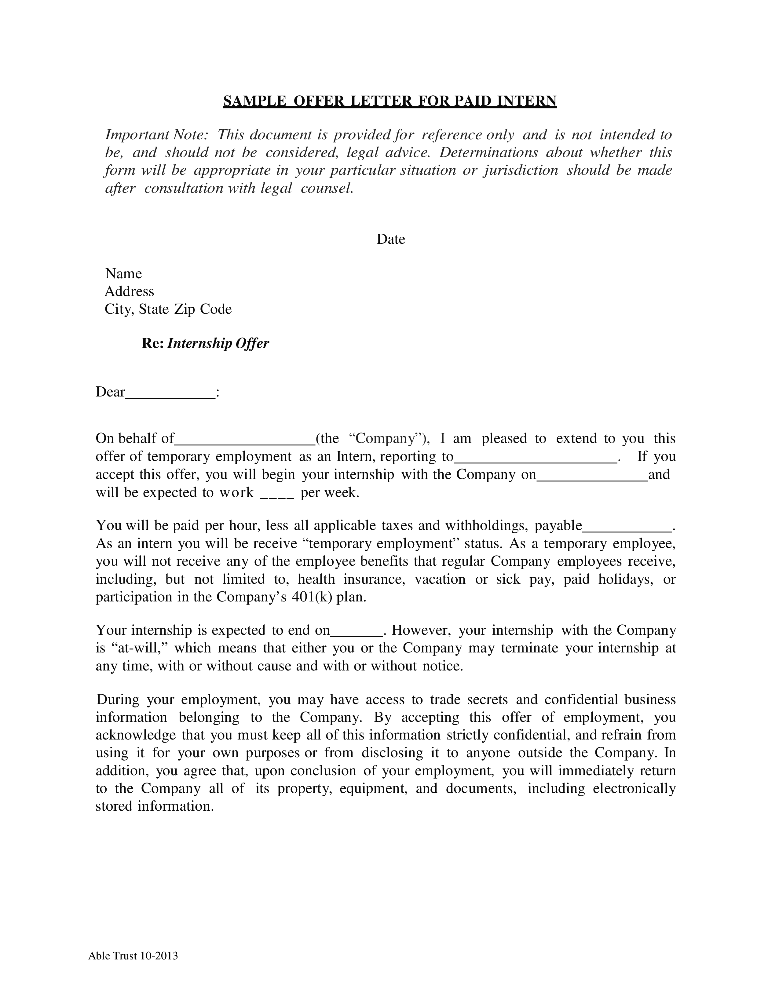 Paid Internship Offer Letter Sample Templates At Allbusinesstemplates Com