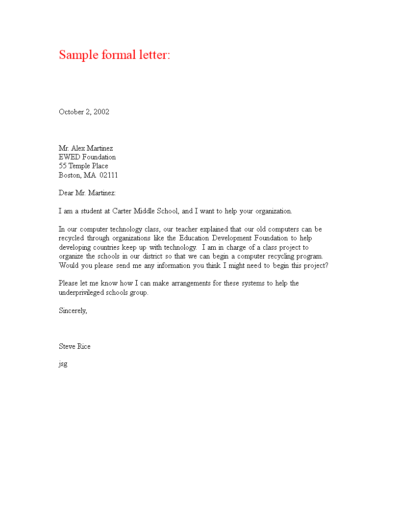 free formal professional letter templates at
