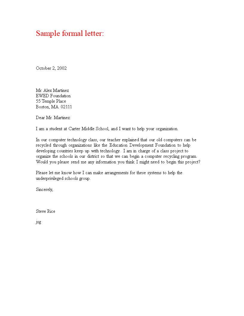 formal professional letter main image