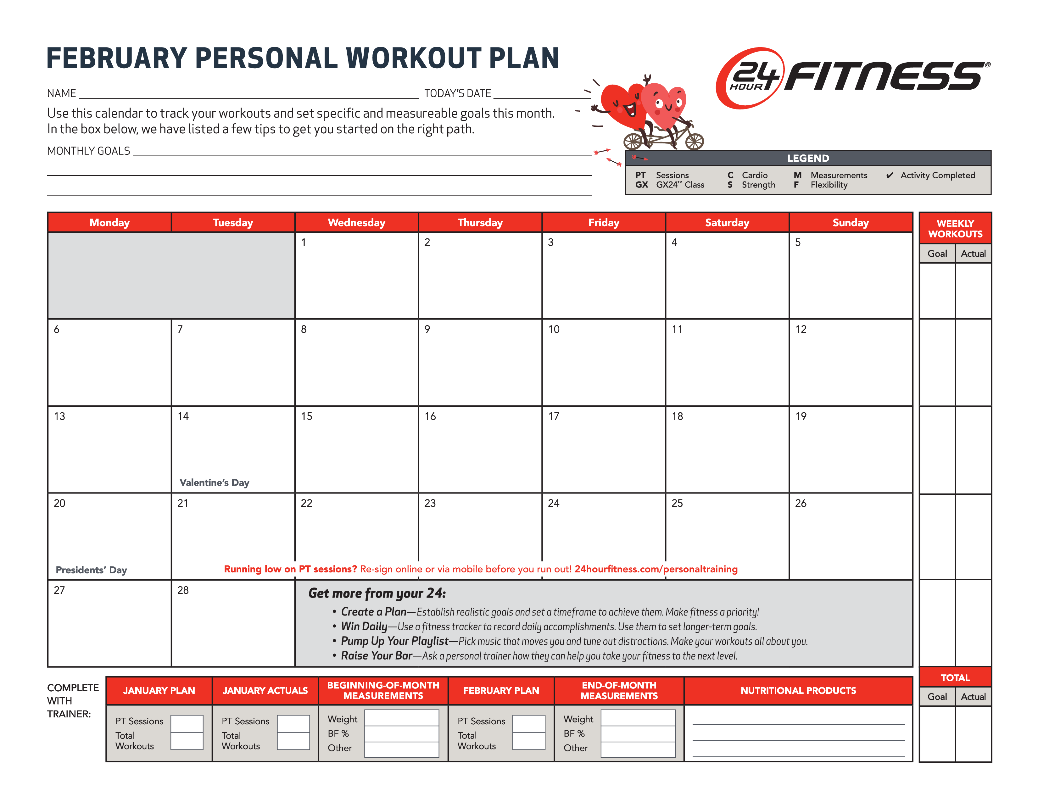 Free Monthly Workout Chart | Templates at allbusinesstemplates.com