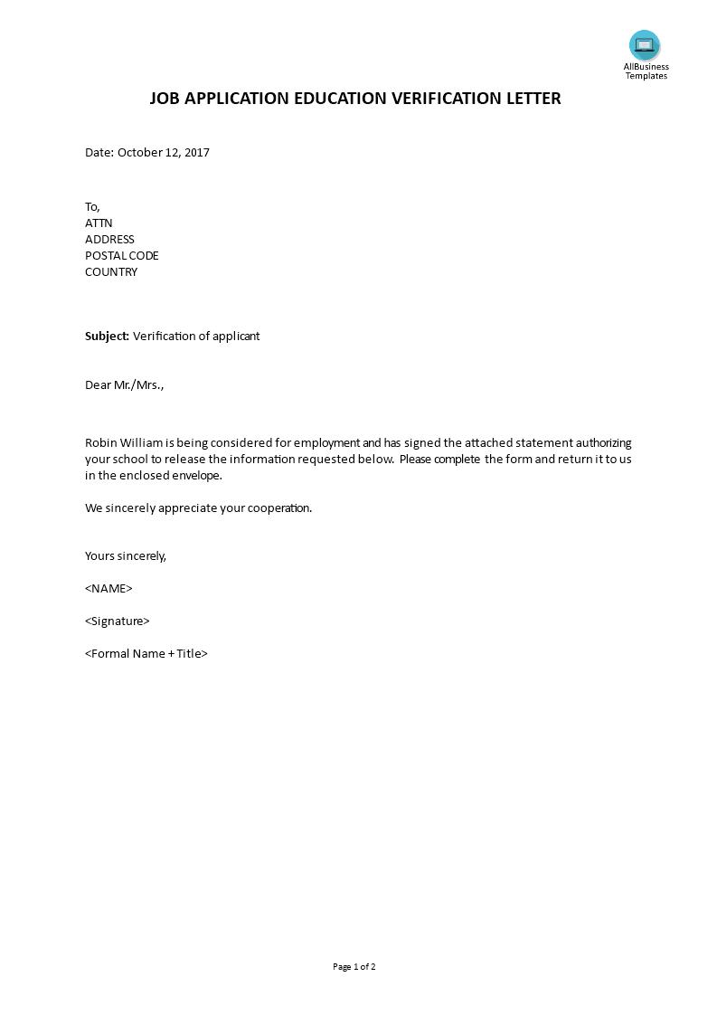Job Applicant Education Verification Letter Templates At