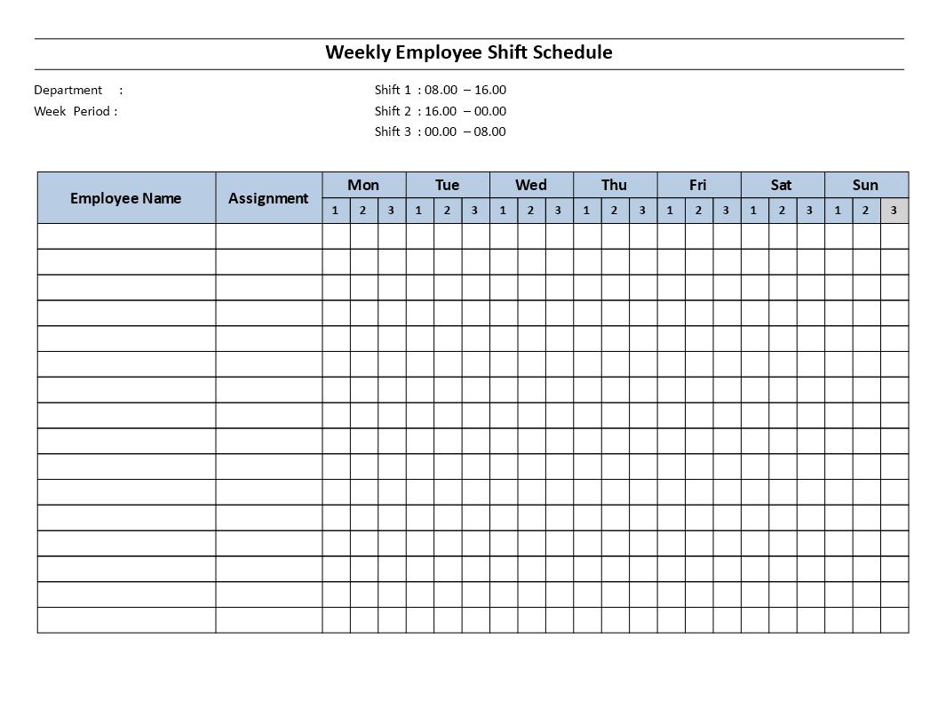 Weekly employee 8 hour shift schedule Mon to Sun ...