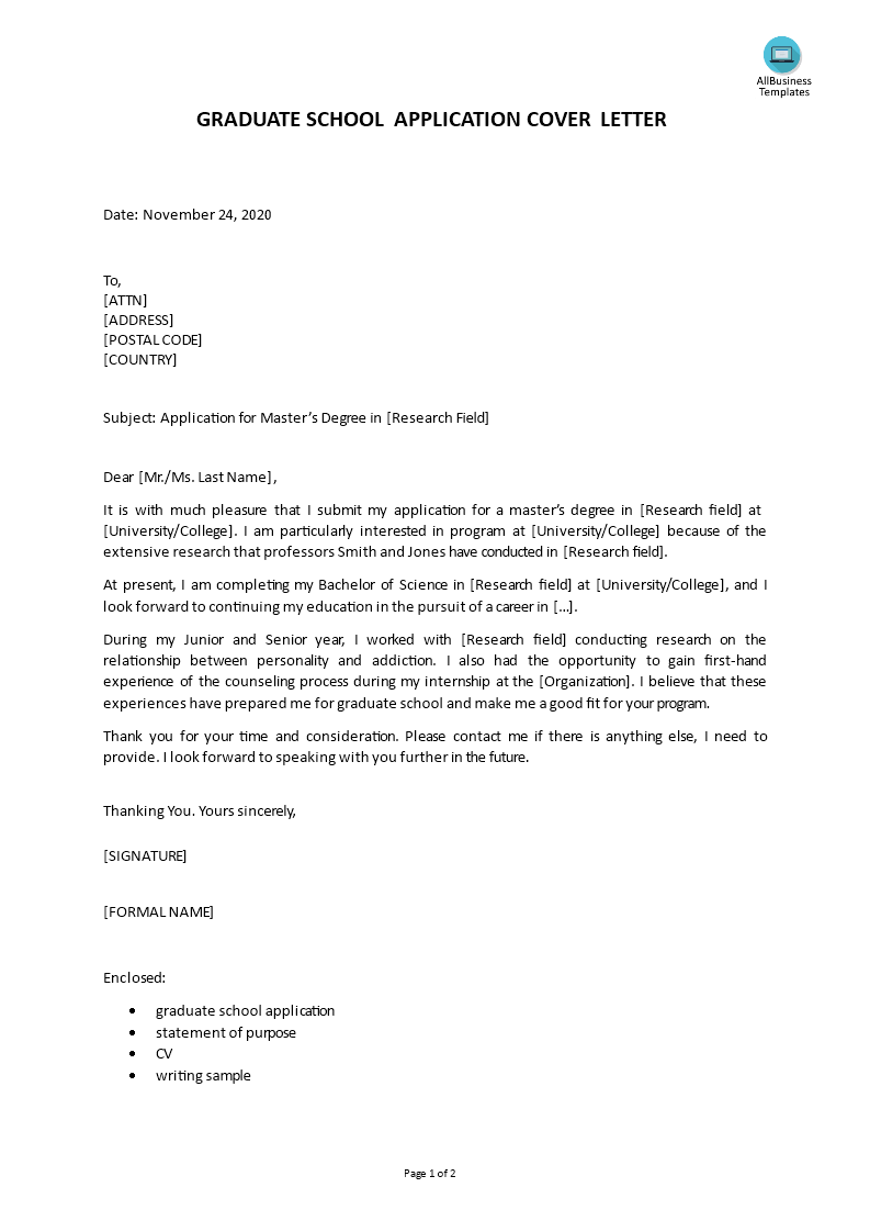 Graduate School Application Cover Letter | Templates at ...