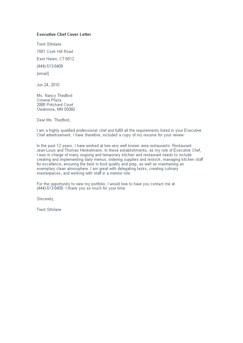 Cover Letter For Cook from www.allbusinesstemplates.com
