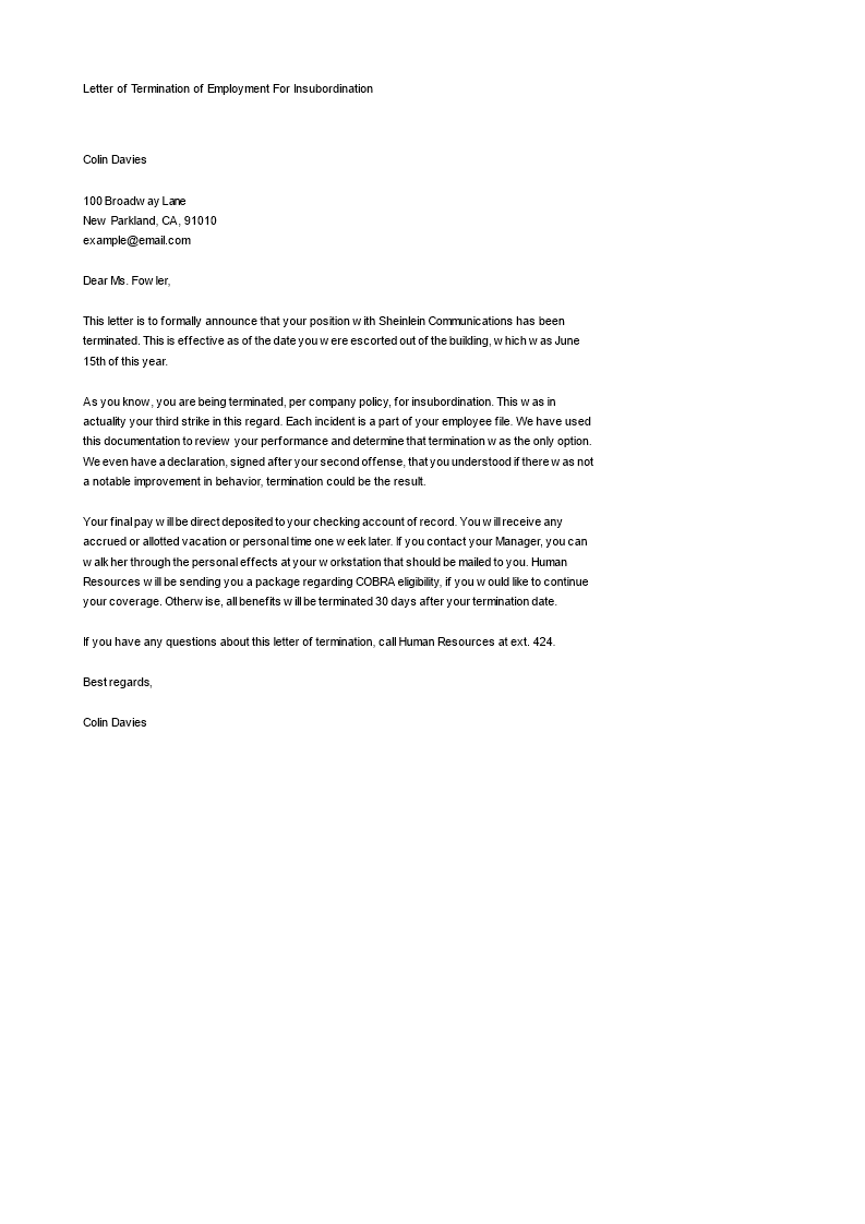 Letter of Termination of Employment For Insubordination   Templates ...