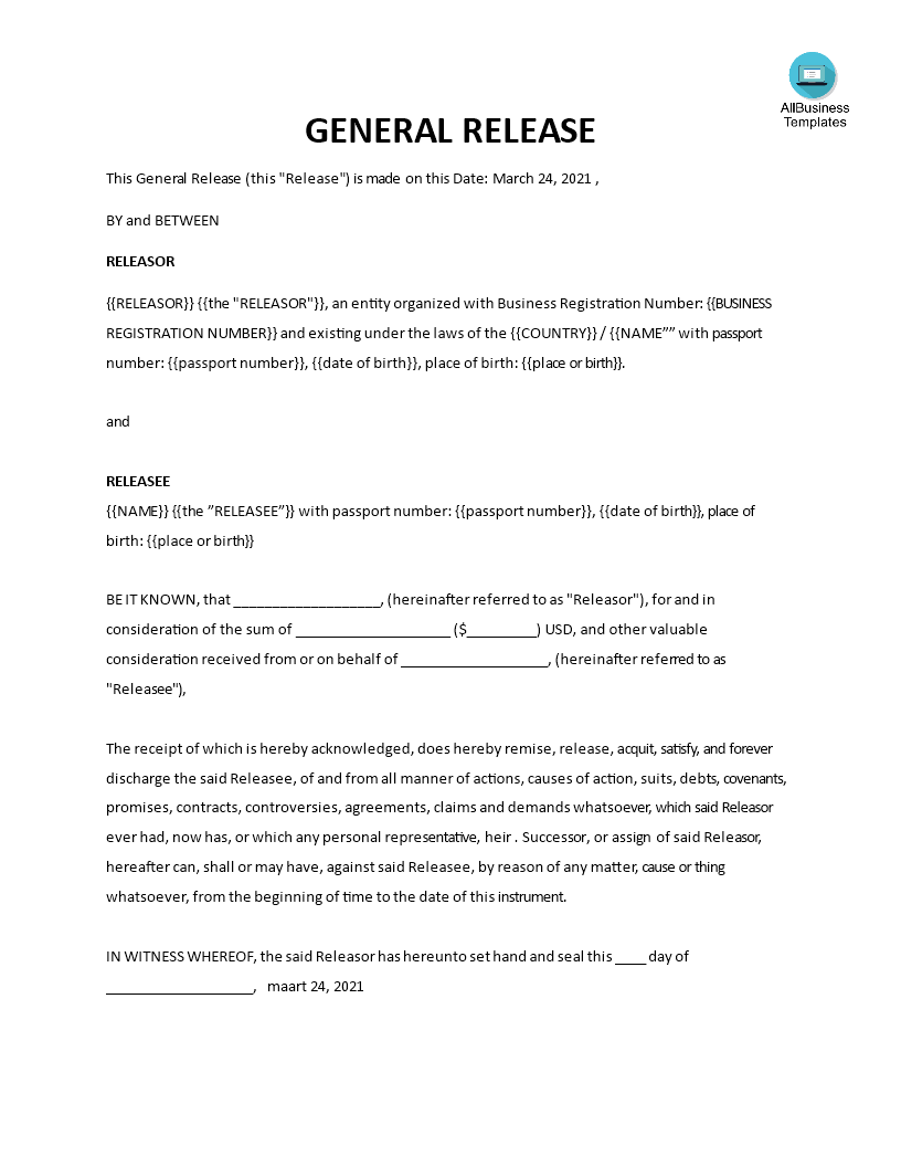 General Release Form Main Image Download Template  General Release Of Liability Form Template