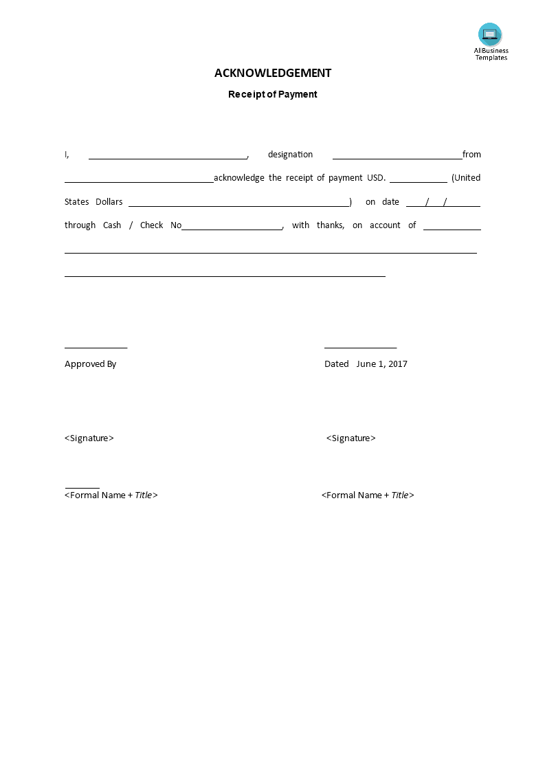 free acknowledgement payment template templates at