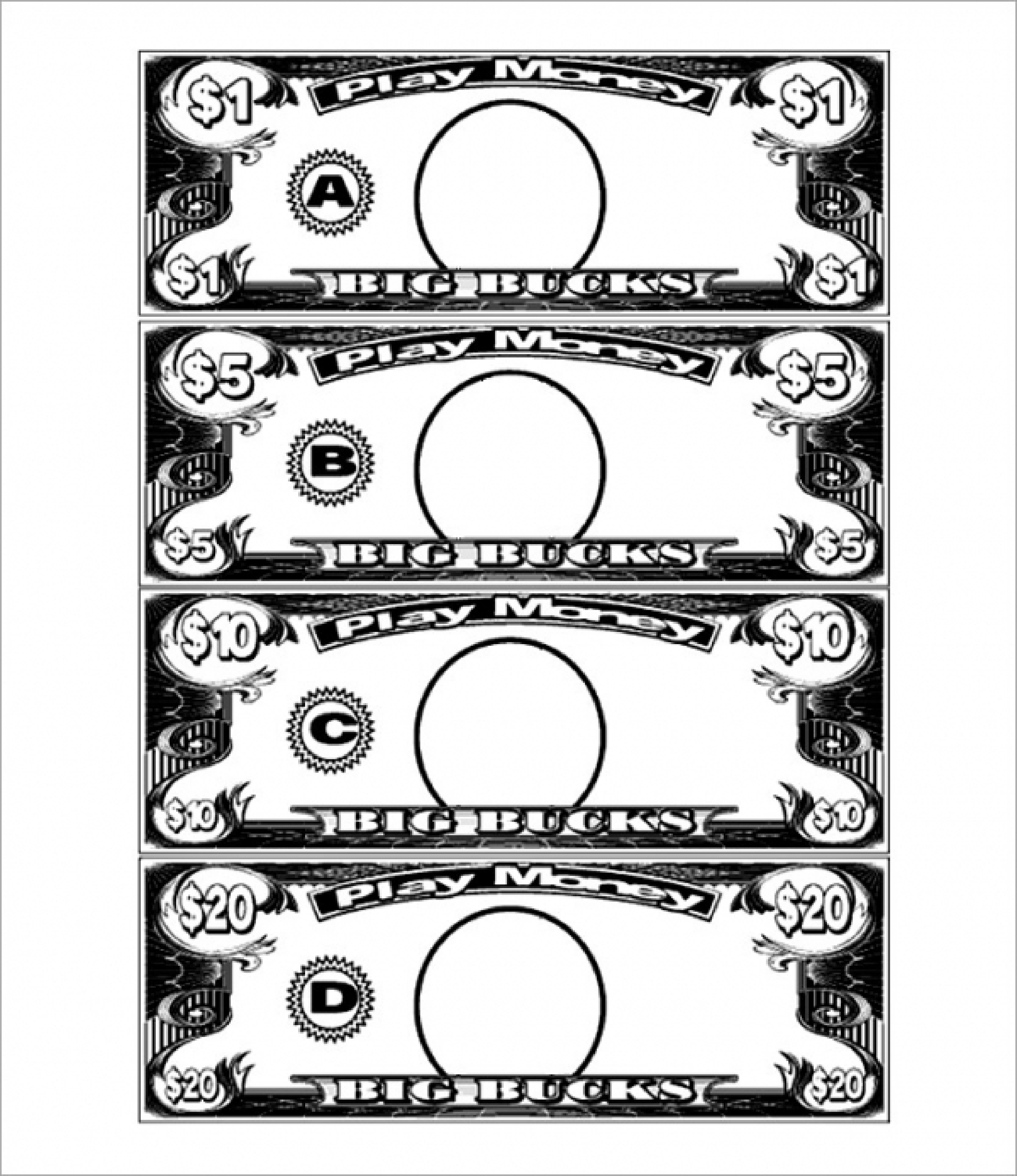 free 1 dollar play money template templates at
