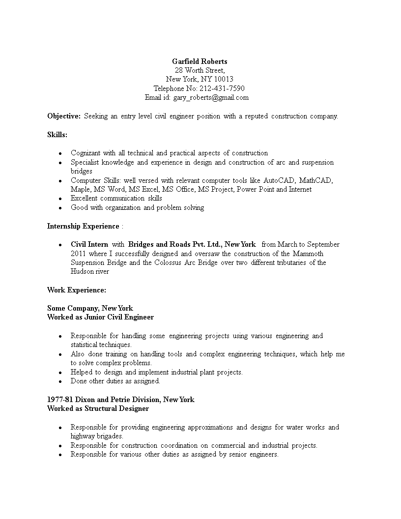 gratis civil engineering student resume