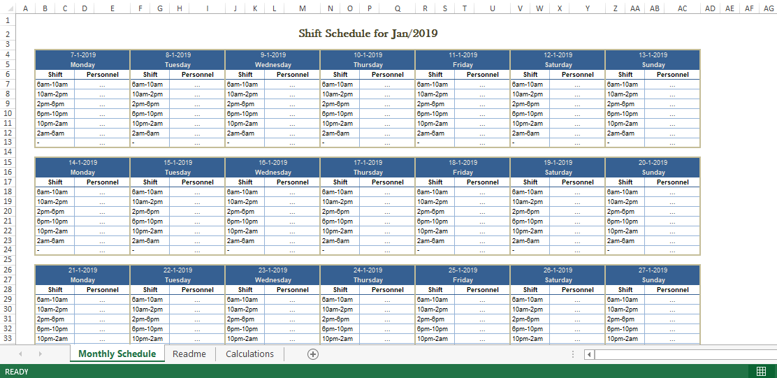 Employee Monthly Shift Schedule Excel Template