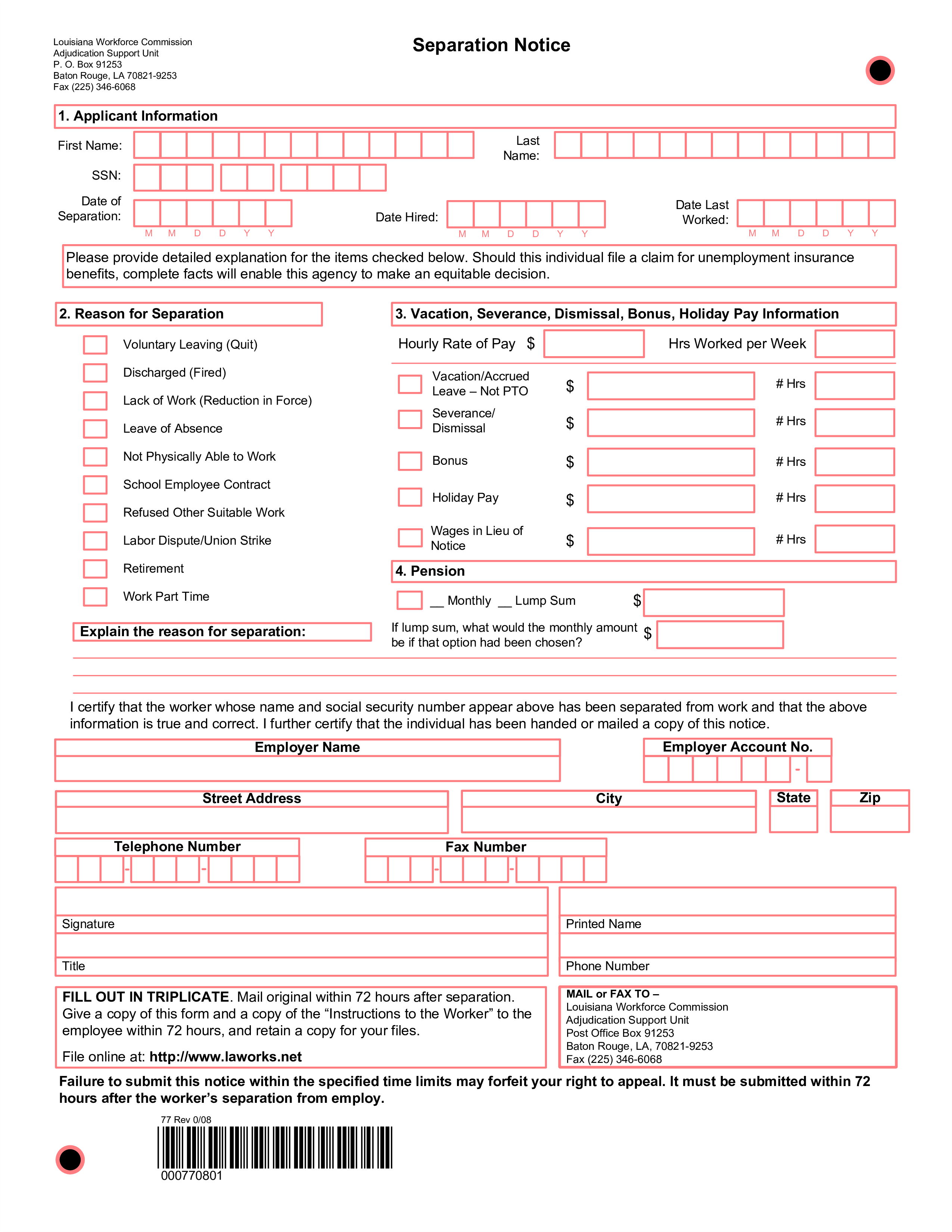 Free Job Separation Notice | Templates at allbusinesstemplates.com