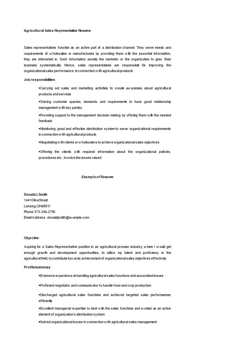 免费Agricultural Sales Representative Resume | 样本文件在 ...