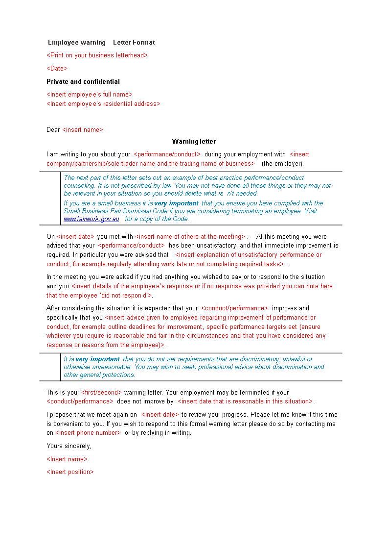 Sample Employee Warning Letter | Templates at allbusinesstemplates