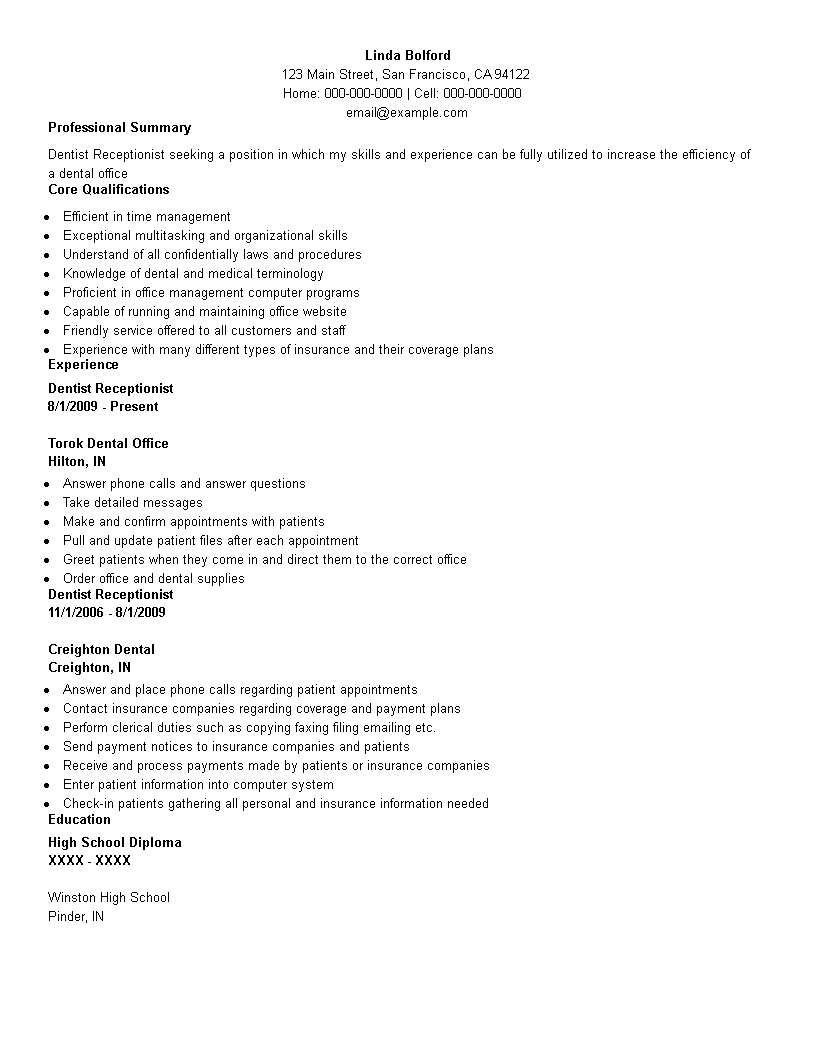 Free Dental Administration Receptionist Resume Templates At