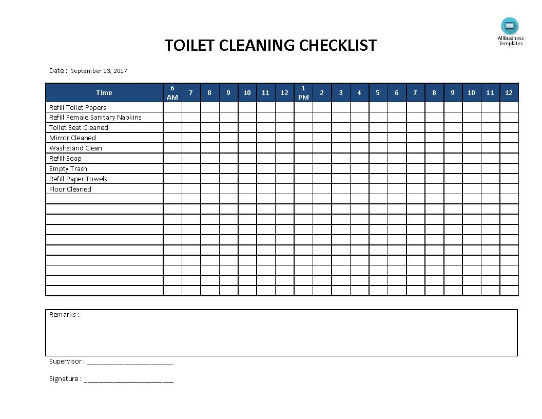 Free Toilet Cleaning Checklist Templates At Allbusinesstemplates