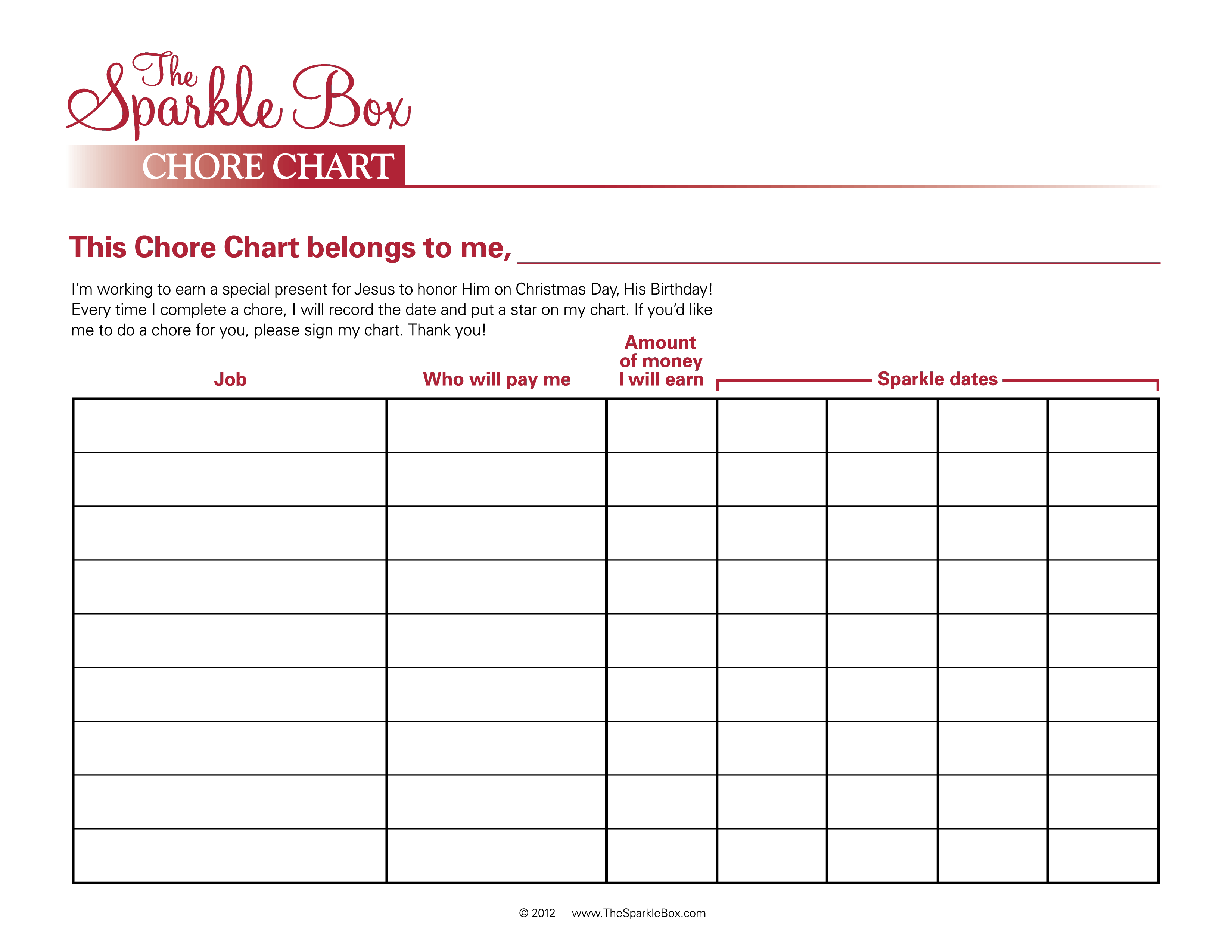 This is a picture of Zany Printable Chart Template