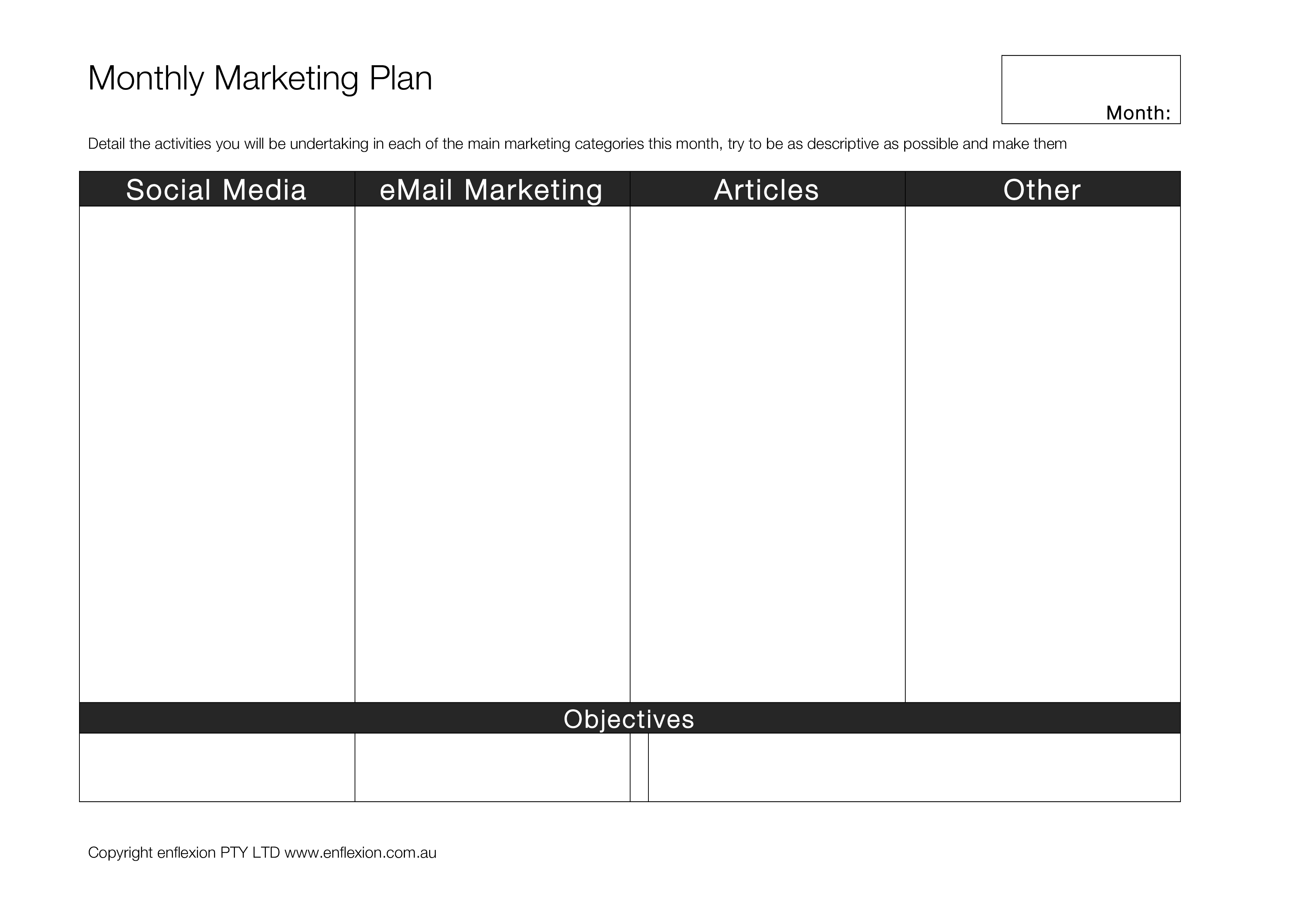 Monthly Marketing Plan Sample Main Image