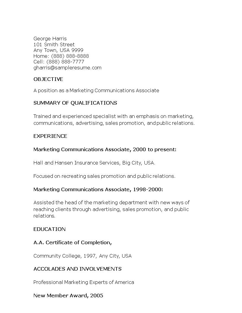 Free Marketing Communications Associate Resume | Templates at ...