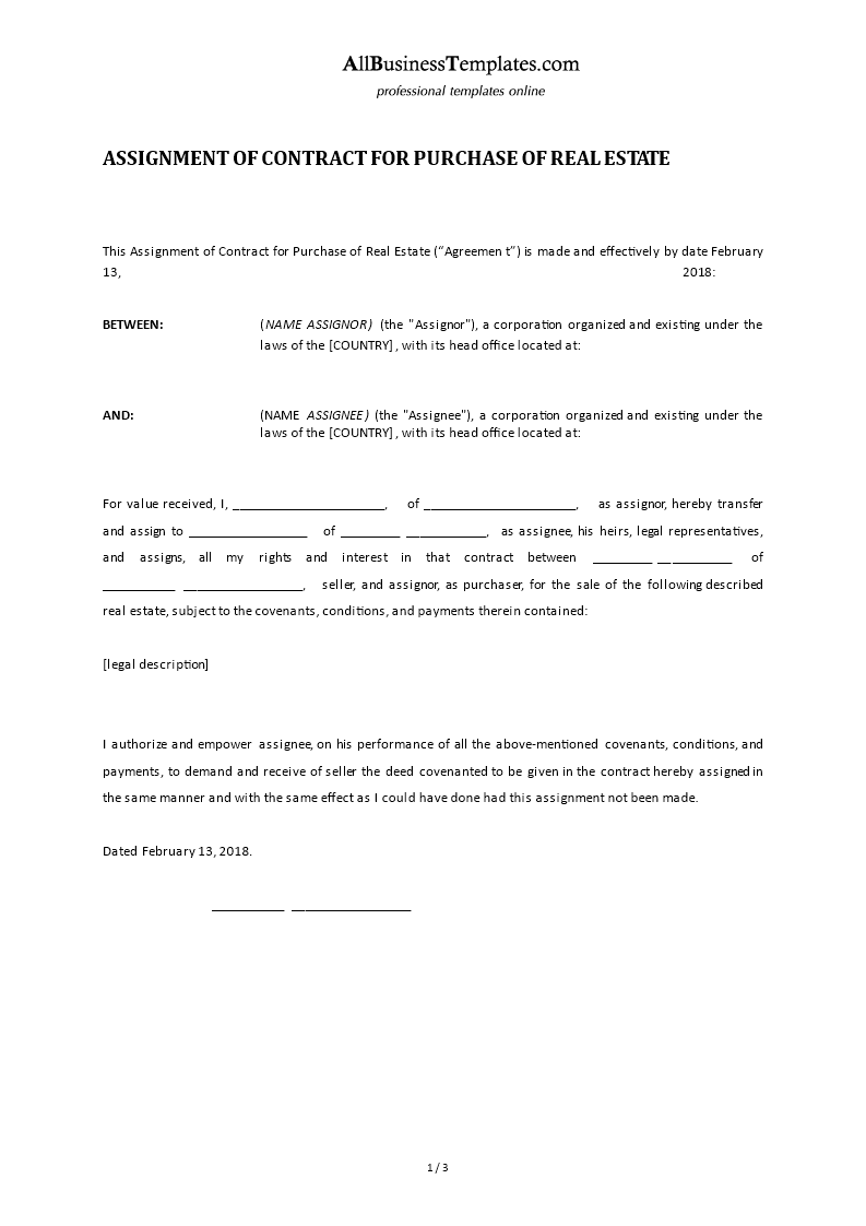 Assignment Of Contract Real Estate Templates At